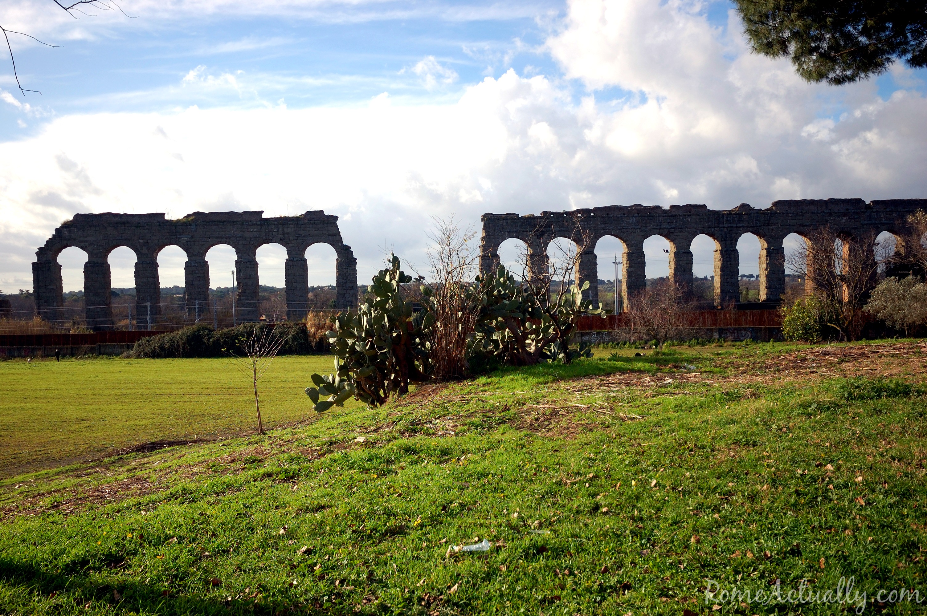 Image: Ancient aqueducts in Rome's Appian Way