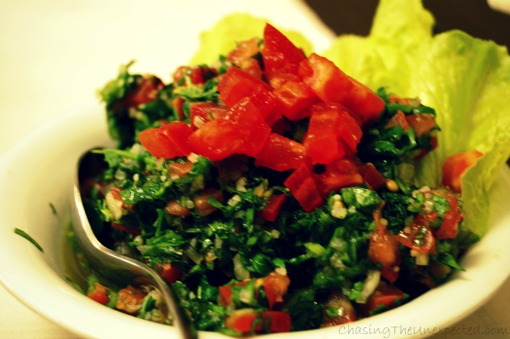 Delicious tabouleh, also part of the mezzeh.