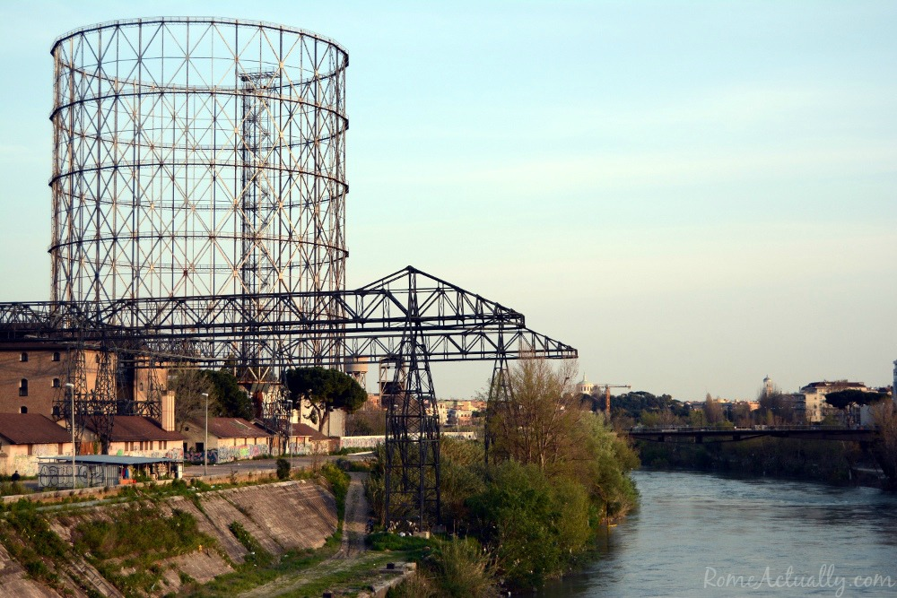Image of the gasometer in Ostiense Rome neighborhood