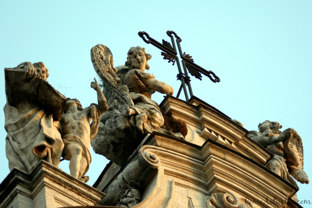 Angels watching welcome you to Santa Croce in Gerusalemme basilica