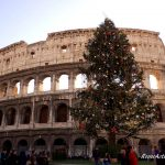 Christmas Tree in front of the Colosseum among the things to see in Rome for Christmas