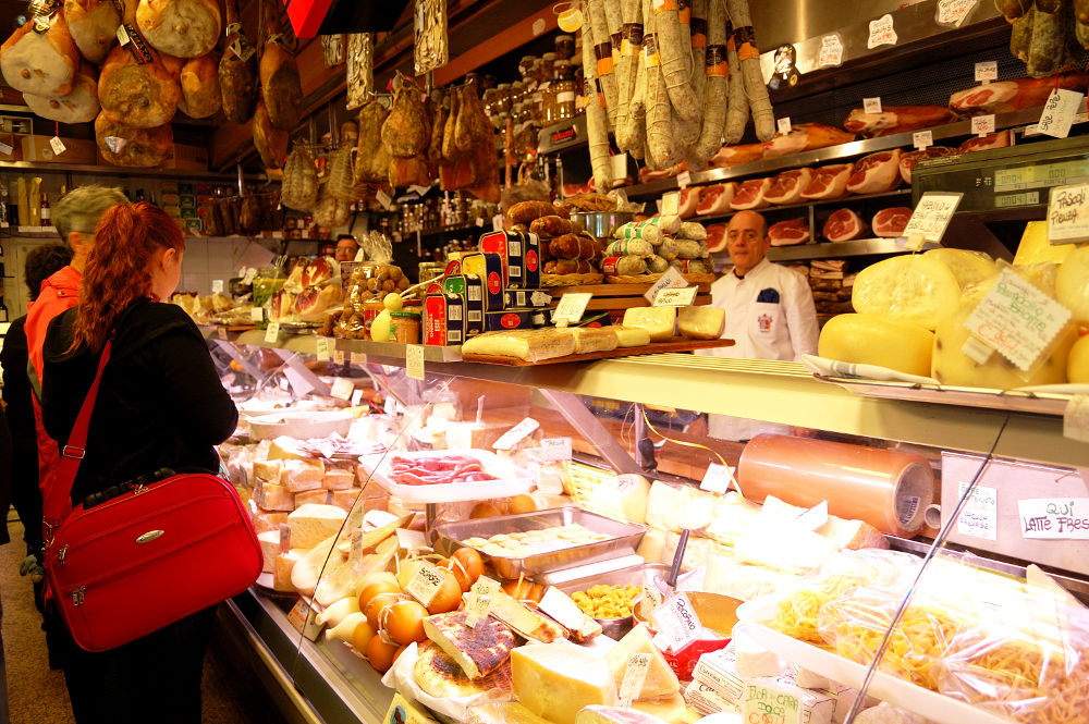 The cheese and cold cuts counter of Volpetti, a stop in the Taste of Testaccio food tour in Rome