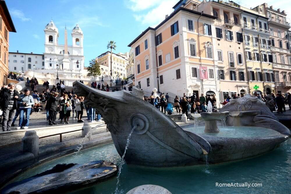 barcaccia fountain piazza di spagna