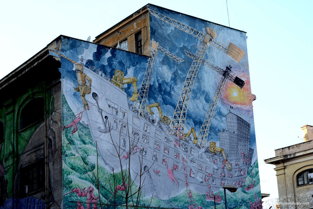 Image of Blu street art in Ostiense