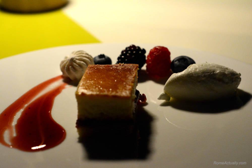 Image: Sour cherries tart as dessert for dinner at Settimo lounge restaurant