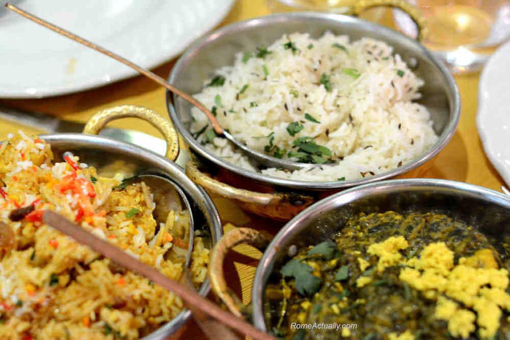 Image: Foods at Gandhi Indian restaurant in Rome's Ostiense