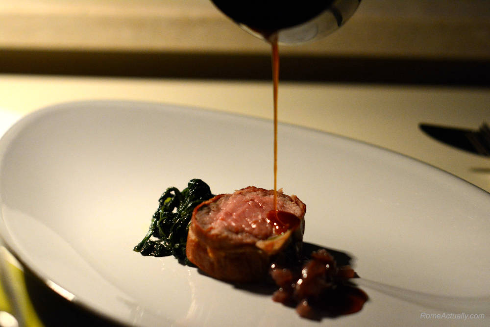 Image: Saltimbocca as a main course for dinner at Settimo lounge restaurant