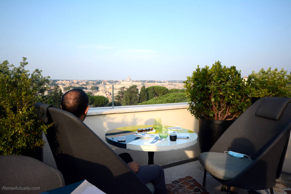 Image: Morning view from the terrace of Settimo restaurant at Sofitel Rome Villa Borghese Hotel