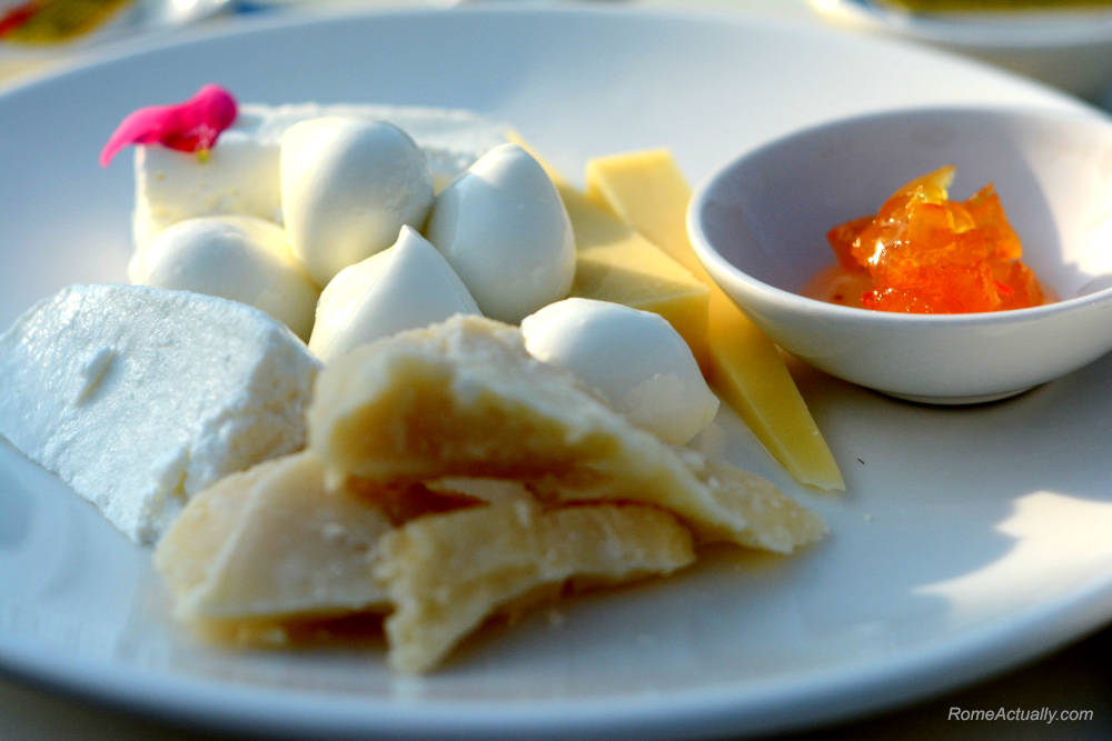 Image: Cheese selections for breakfast at Settimo restaurant at Sofitel Rome Villa Borghese Hotel
