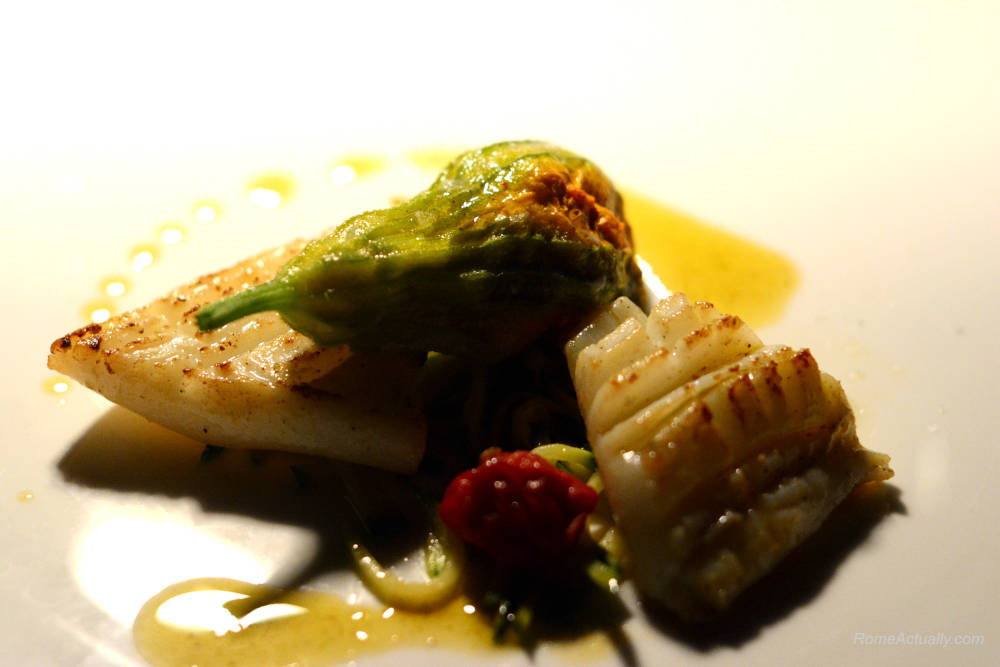 Image: Squid as a main course for dinner at Settimo lounge restaurant