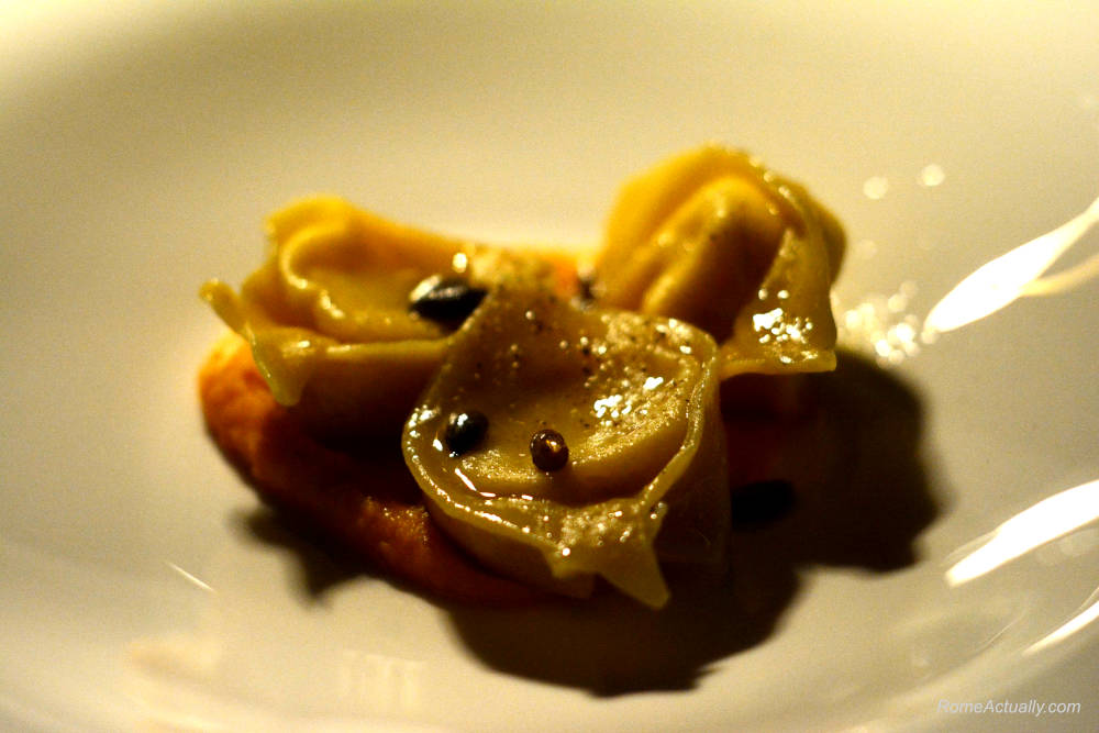 Image: Cacio e pepe tortelli as a first course for dinner at Settimo lounge restaurant