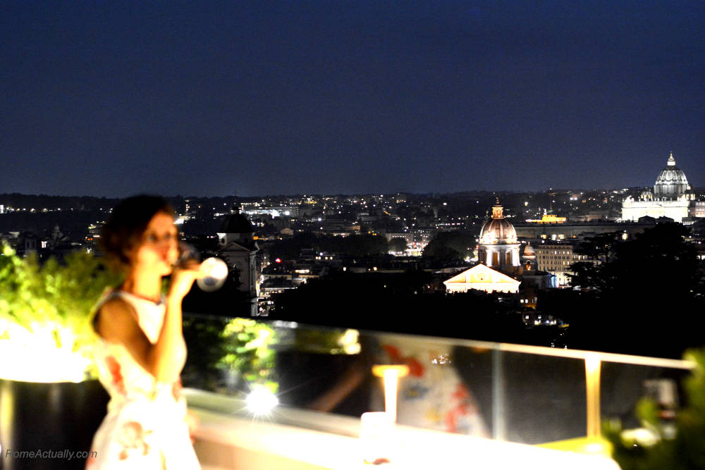 Image: Sipping Primitivo red wine before dinner on the terrace of Settimo lounge restaurant
