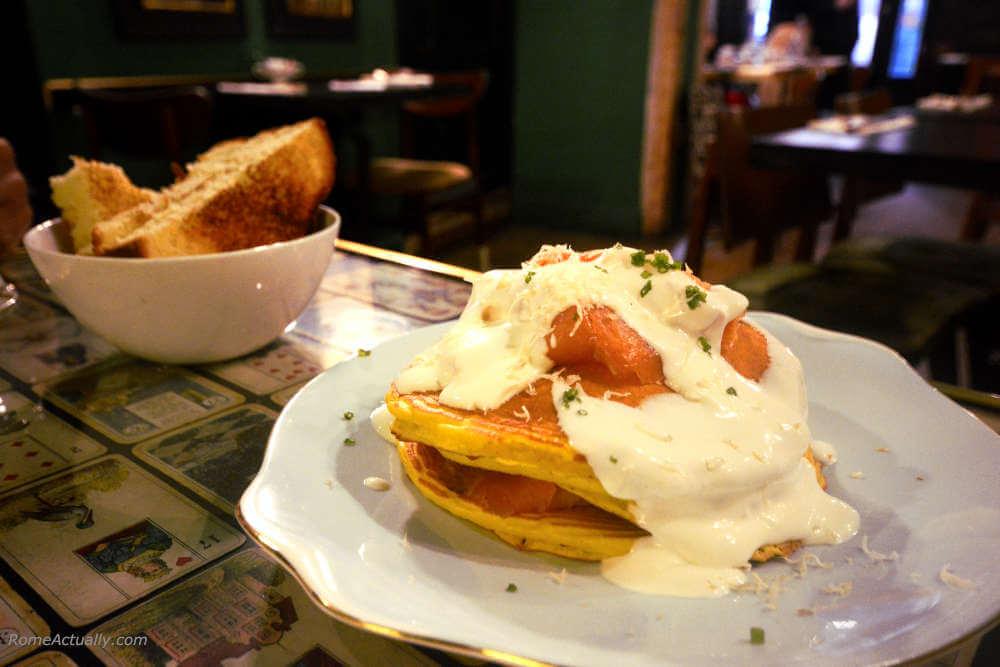 image: salmon pancake at Coromandel restaurant in Rome city center