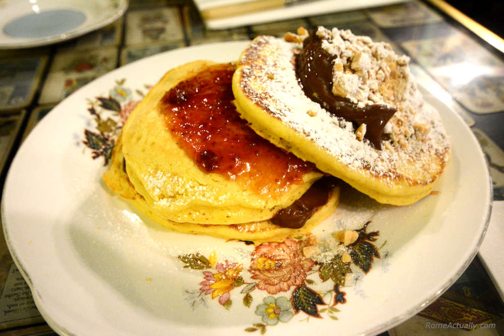 Image: Vegan pancakes with chocolate and strawberry jam at Rome's Coromandel for breakfast