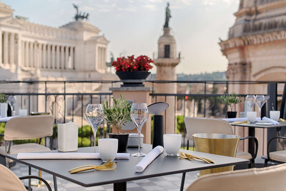 Image: Oro Bistrot restaurant of NH Collection Roma Fori Imperiali best 5-star hotels in Rome