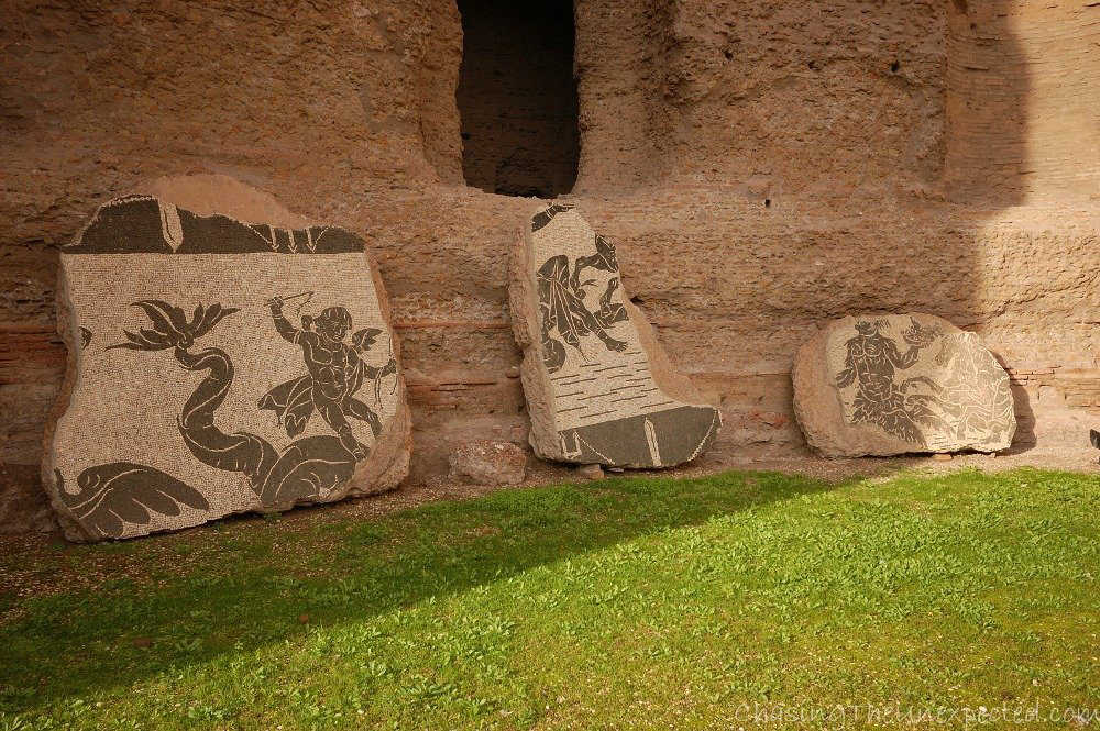 Image: Decorative walls in Rome's Baths of Caracalla spa complex