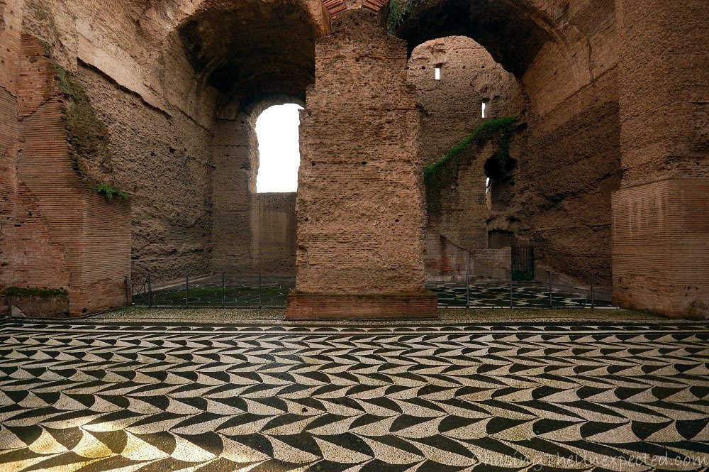 Image: Rooms of ancient thermal complex of the Caracalla Baths in Rome