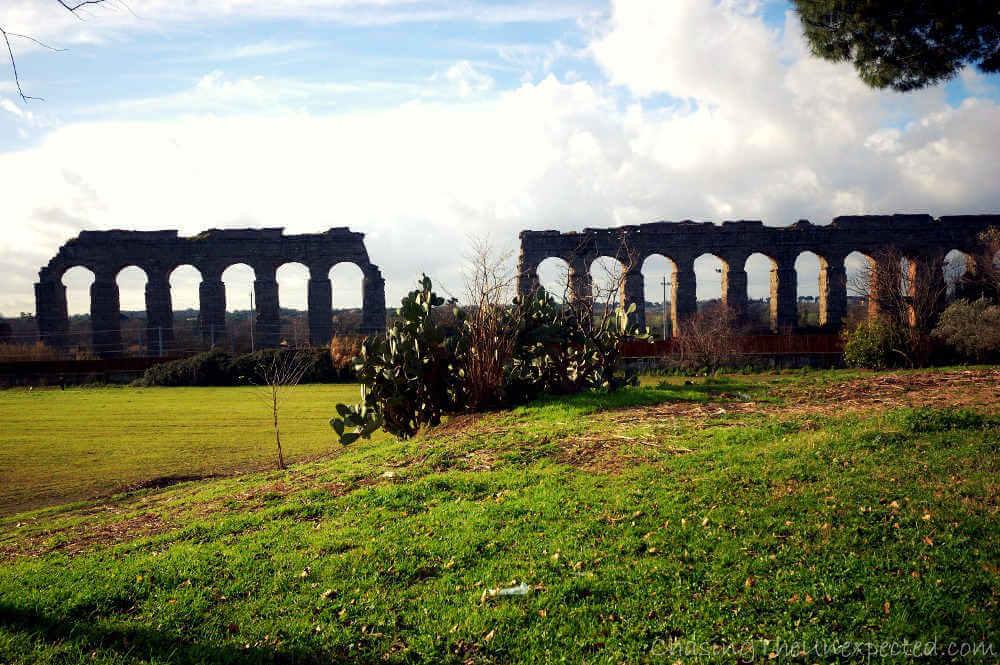 Image: Aqua Claudia aqueduct archaeological site in Rome